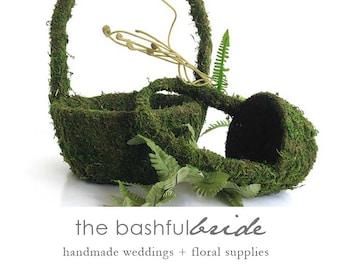 Moss flower girl basket, greenery wedding, moss basket, greenery wedding, greenery wedding decor, easter decor