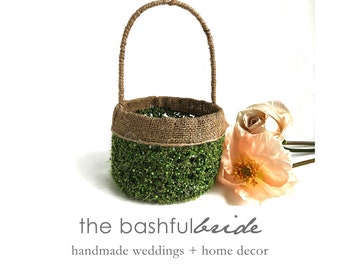 Moss burlap flower girl basket, greenery wedding, moss basket, greenery wedding, greenery wedding decor, burlap moss basket