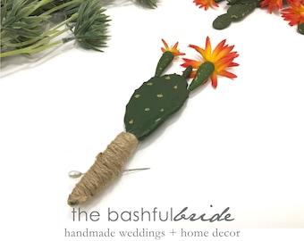 Cactus boutonniere Southwestern wedding, cactus wedding, cowboy wedding, desert wedding, succulent wedding, prickly pear cactus