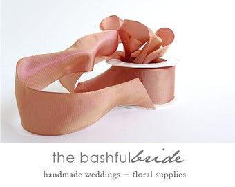 Rose gold ribbon, 10 yards ribbon, grosgrain ribbon, rose ribbon, metallic ribbon, wedding ribbon, rose gold wedding, rose gold bachelorette