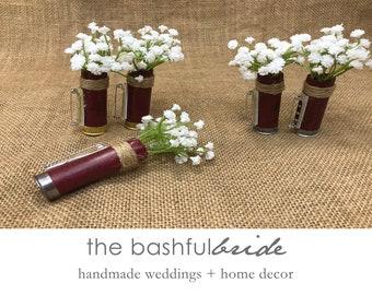 Baby's Breath boutonniere, shotgun shell, baby's breath corsage, wedding corsage, shotgun boutonniere, farmhouse wedding