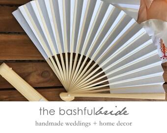 10 Piece Wedding favor fan, white fan, white paper fan, beach decor, beach wedding, seashell wedding, coastal decor