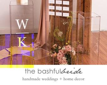 Acrylic riser, wedding stand, wedding sign, acrylic plant stand, acrylic sign, acrylic wedding decor, Floral centerpiece
