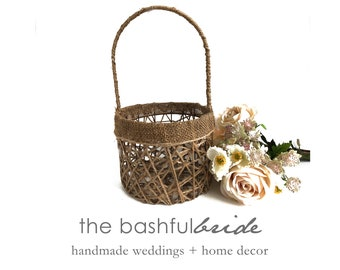 Burlap basket, rustic flower girl basket, barn wedding, flower girl basket birch, farmhouse chic, fall decor, fall basket