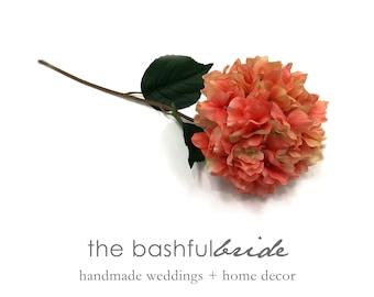 Coral Hydrangea, silk flowers, coral arrangement, coral wedding, hydrangea wedding, coral floral arrangement