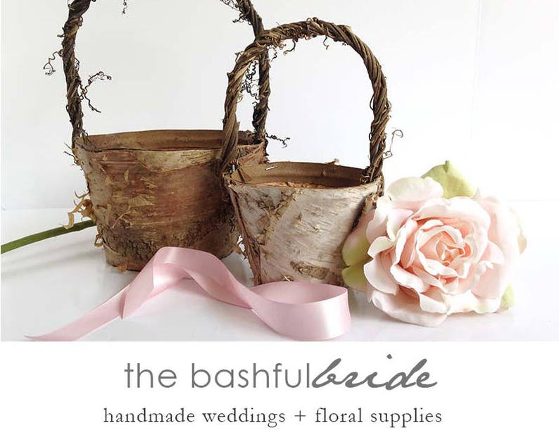 Two sizes rustic flower girl basket birch flower girl image 0