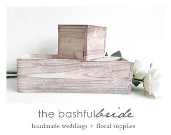 White wood planter, 7 sizes, wedding decor, planter box, white wood box, rustic planter, wedding centerpiece, wood planter, distressed wood
