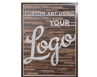 Custom corporate wall art using your company logo- laser cut stainless steel - black walnut frame and background
