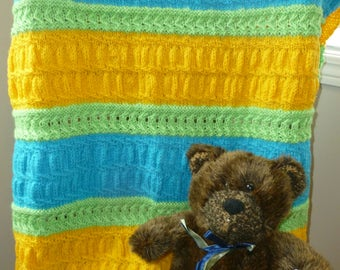 Blue, Yellow & Green Knit Blanket