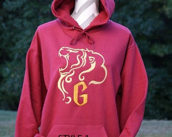 Gryffinder Inspired Hoodie 2 Different Styles, Custom Embroidered hoodie