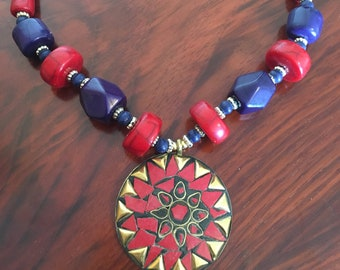 Boho Ethnic Hippy Necklace Beaded Gemstones Necklace Rounded Brass Tribal Pendant African Necklace Casual Bohemian accessories