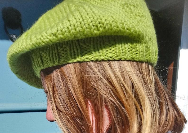 d014ff99 Beret Hat Green Banana 100% Peruvian Highland Wool Chunky   Etsy