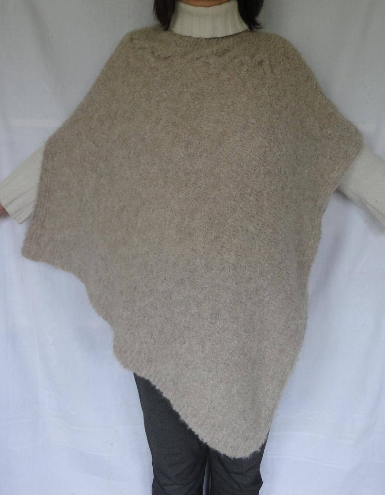 e1a92385 Poncho Wrap Alpaca Wool Light Beige Large/Extra Large Hand   Etsy