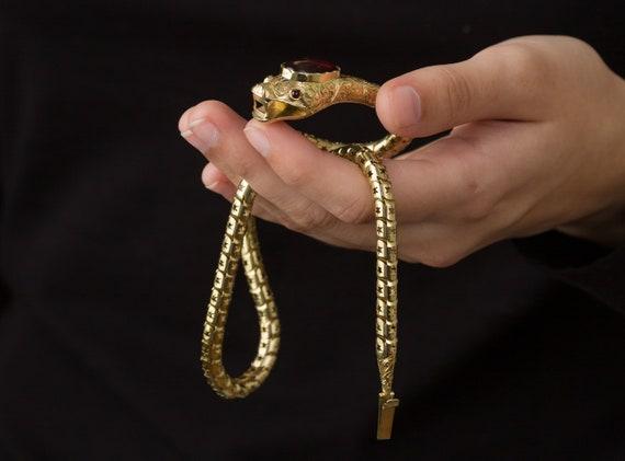 SOLD Victorian Snake Necklace, Garnet Snake Neckl… - image 9