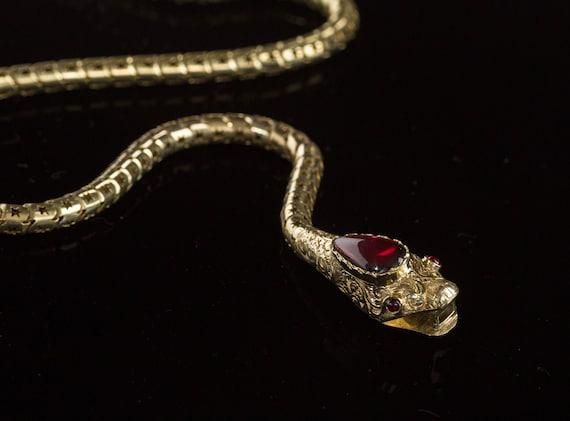 SOLD Victorian Snake Necklace, Garnet Snake Neckl… - image 7
