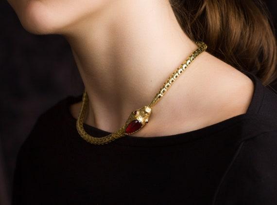 SOLD Victorian Snake Necklace, Garnet Snake Neckl… - image 3