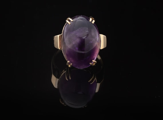 Amethyst Ring, Purple Amethyst Ring, 9K Amethyst R