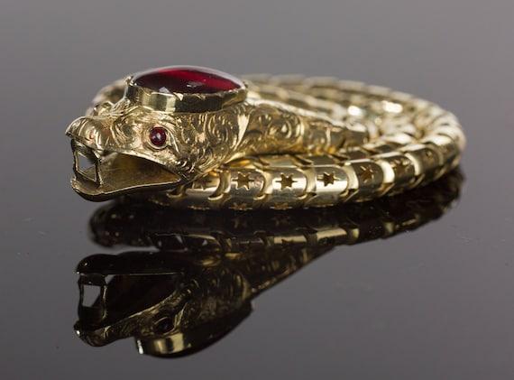 SOLD Victorian Snake Necklace, Garnet Snake Neckl… - image 8