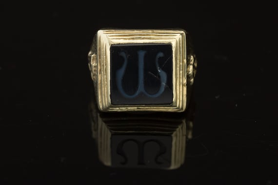 18K Signet Ring, Omega Greek Symbol, Sardonyx Omeg