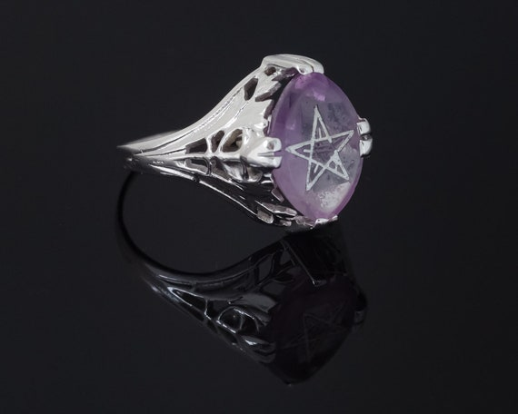 Art Deco Amethyst Ring, Art Deco Star Ring, Easter