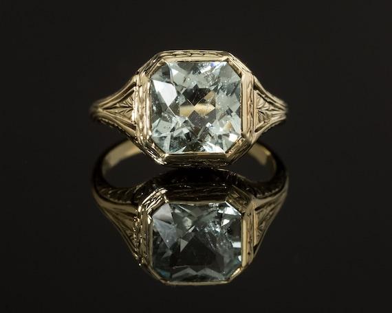 Vintage Aquamarine Ring, Art Deco Aquamarine,  Dec