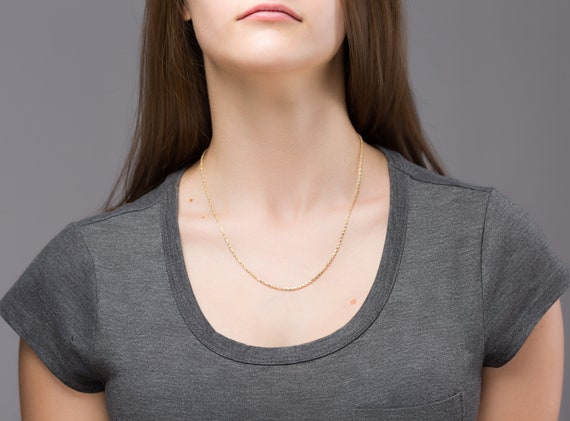 Gold Rope Chain, 14K Gold Chain, Rope Chain, 18inc