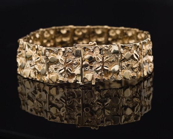 Vintage Gold Bracelet, Chunky Bracelet, Heavy Gold