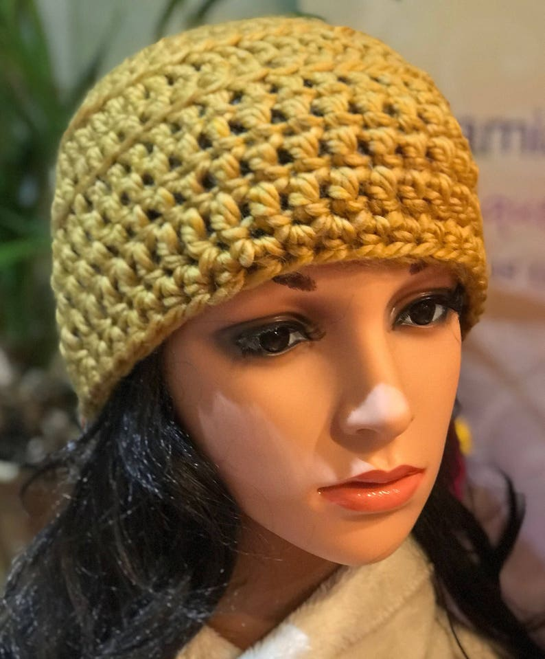 56b14d18f0a1d Unisex unique winter hat in golden tone.