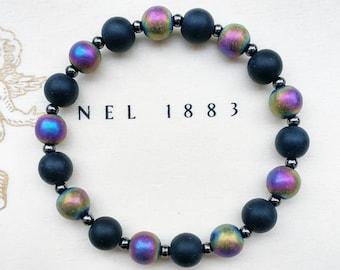 CONFIDENCE - Onyx & Rainbow Hematite Natural Stone Stretch Bracelet