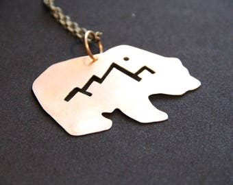 Bronze Grizzly Bear Statement Necklace