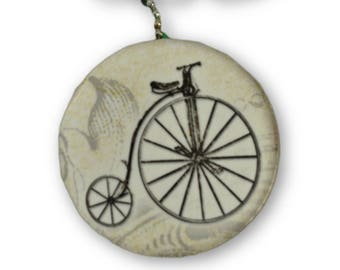 Penny Farthing Round Wood Fan / Light Pull