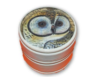 Barn Owl Wood Trinket Ring Box