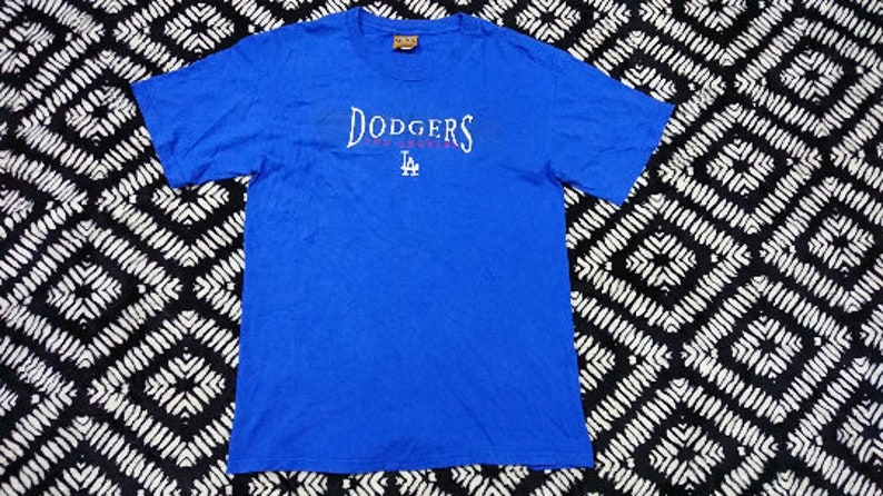 814f875937 free shipping Vintage dodgers LA t shirt embroidered spell out size m made  in usa