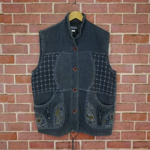 Vintage Patchwork Design Tactical Pocket Vest Larg