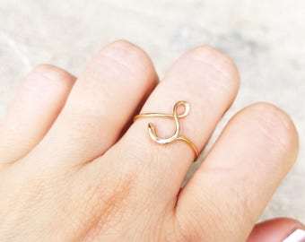 S Gold Ring Designs | Initial Ring Letter S Ring Personalized Wire Initial Ring Wire Etsy
