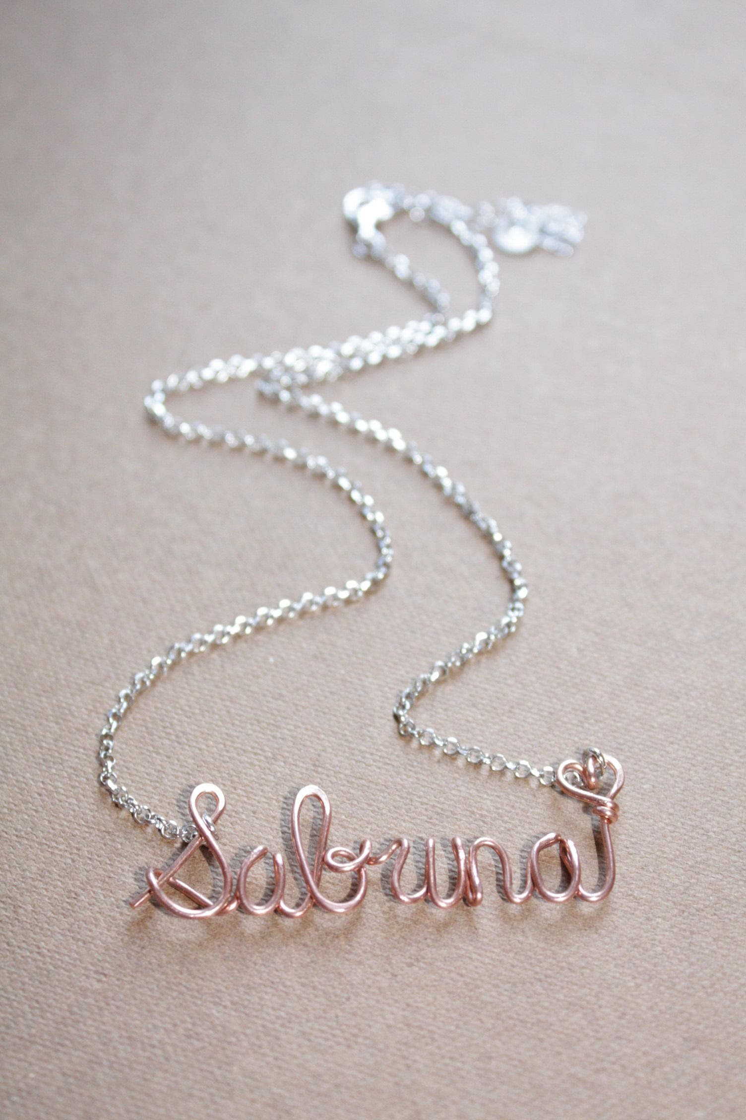 Sterling Silver and 22k Rose Gold Custom Name with Heart