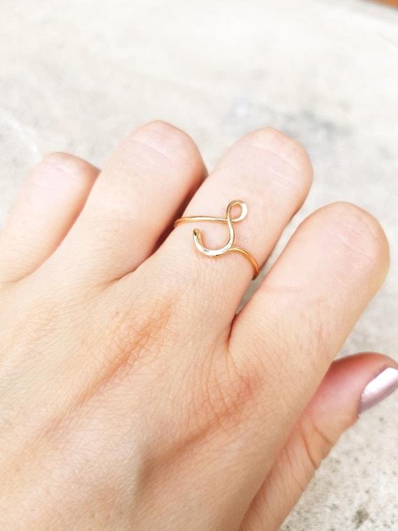 22 k Rose Gold erste Ring Buchstabe S Ring Draht erste Ring | Etsy