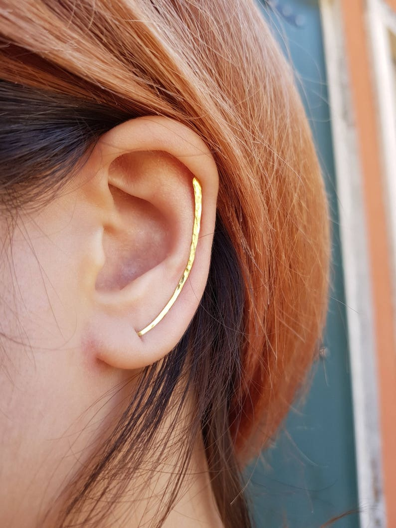 Ear Climbers 40mm Sleek Ear Pins 22k Gold Plated on Sterling Silver 925 Smooth Sweep Unusual Ear Climber Ear Crawler Ear Cuff Ear Climbers