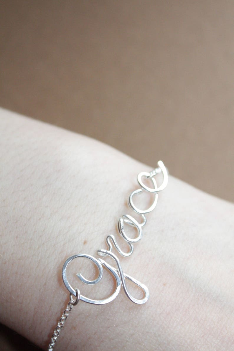 7d86c9c63dee92 Sterling Silver Name Bracelet Personalized Name Jewelry Custom   Etsy