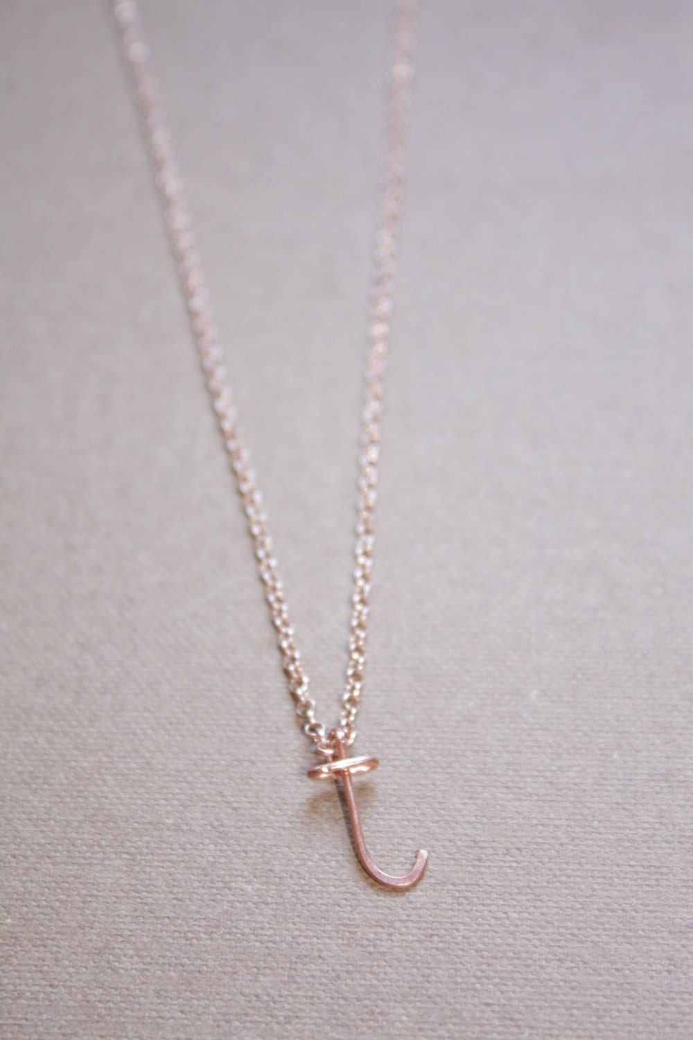 Letter T Necklace Silver Gold Rose Gold Initial Necklace