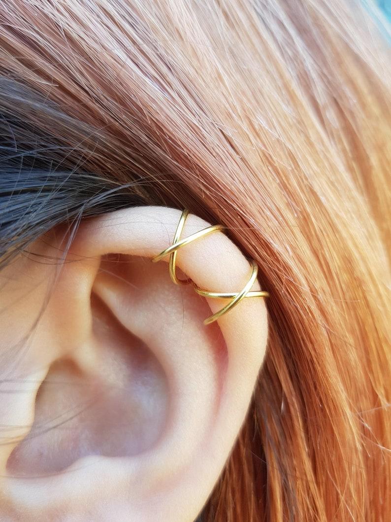 855b50f19 Criss Cross Ear Cuff Cartilage Ear Cuff No Pierce Ear Cuff | Etsy