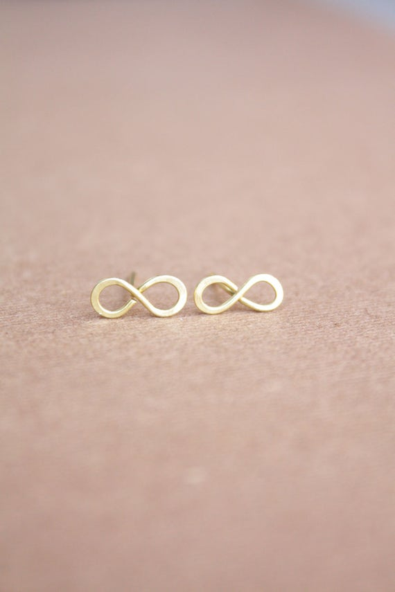 Mothers Day Jewelry Gifts Minimalist Infinity Symbol Line Ear Crawler Climber Earrings In Gold Over Sterling Silver