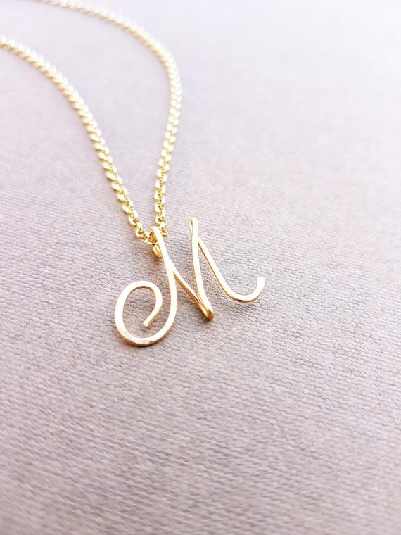 Cursive gold letter alphabet initial m necklace etsy image 0 aloadofball Image collections