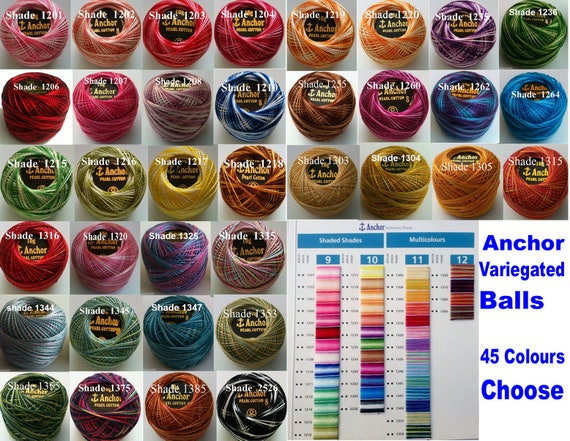 20 ANCHOR Pearl Cotton Crochet Variegated solid Balls Size 8 Thread 85 Meter UK
