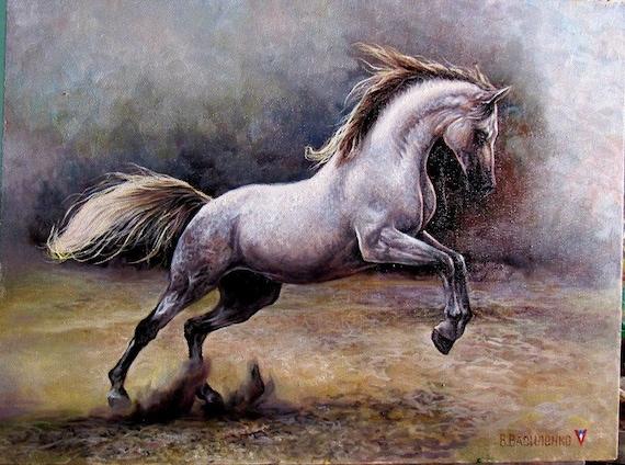 Horse oil painting white horse westren art animal oil | Etsy