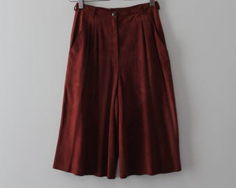 Gian Marco Venturi suede culottes // 90s leather wide leg pants