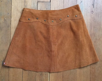 8a6784502 Vintage 1970s studded suede mini skirt // 70s suede mini skirt
