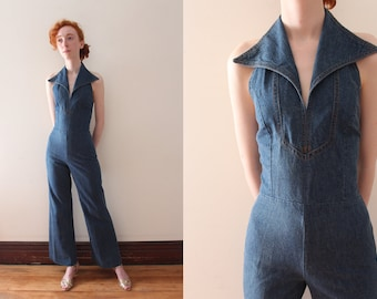 eb62e31e9ba5 vintage 1970s denim jumpsuit    70s wide collar jumpsuit