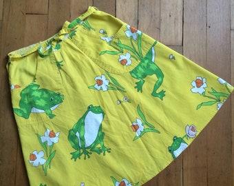 vintage 1970s yellow frog wrap skirt