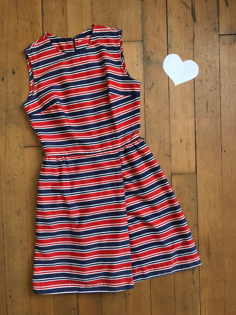 vintage 1960s striped romper  60s dress but actually a romper